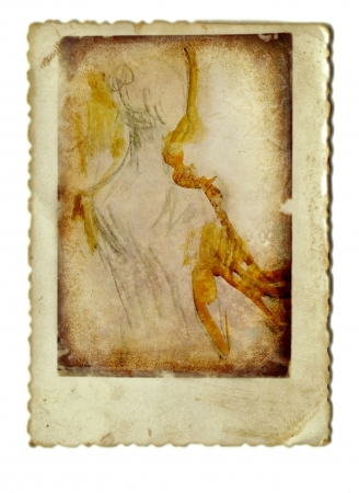 archaically: hand painting, ballerina from behind