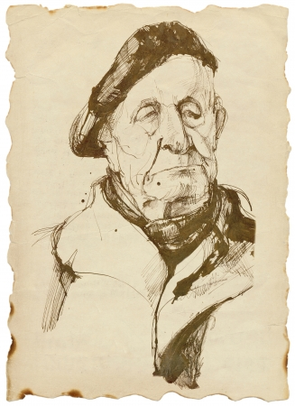 grandpapa: old man in a beret - drawing tough