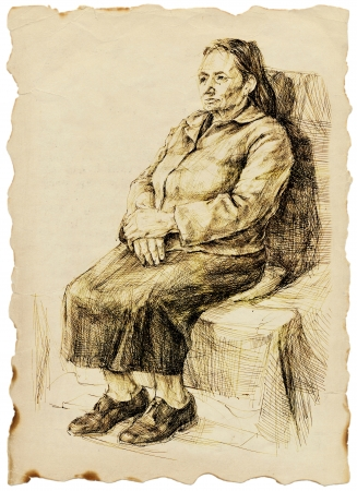 an old woman sitting in a wide skirt - drawing photo
