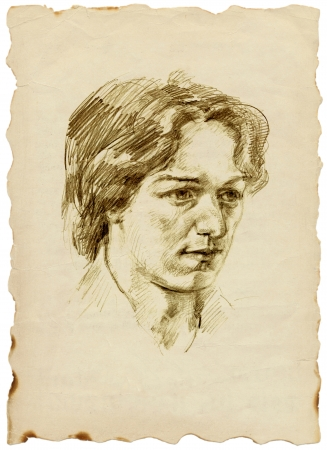 archaically: head of a young man - pencil drawing