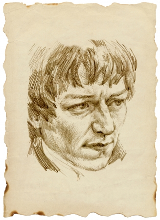 head of a young man - pencil drawing photo