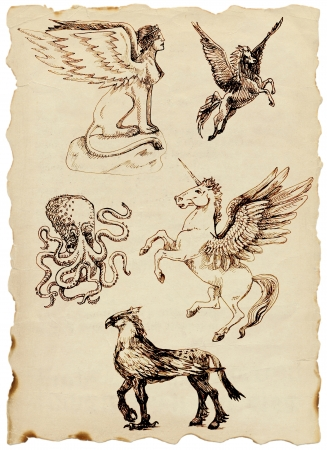 homer: hand drawing, mystical creatures Stock Photo