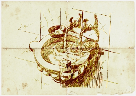 archaically: hand drawing, antique basin