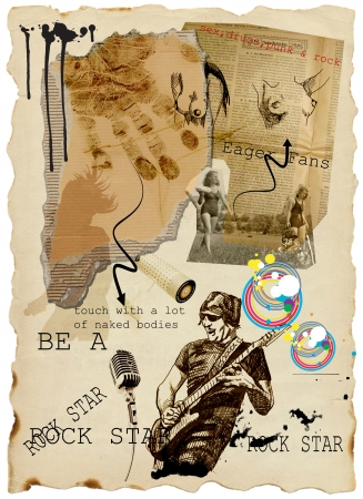 master page: mixed media - for young rebels Stock Photo