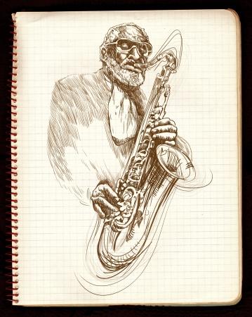 hand drawing,  jazz music