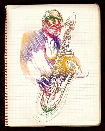 virtuoso: hand drawing,  jazz music