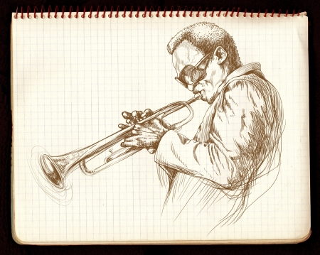 dibujo a mano, la m�sica jazz photo