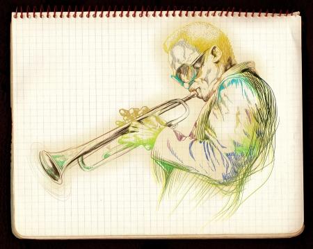 instrument practice: hand drawing,  jazz music