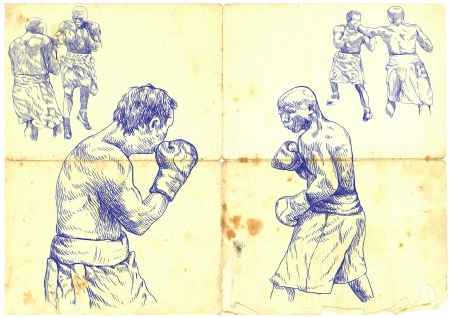 hand drawings, boxing match photo