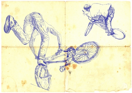 hand drawings, bmx bike photo