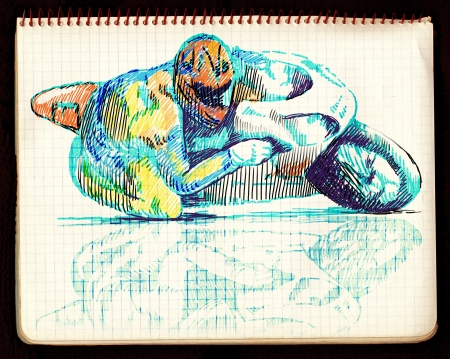 gp: hand drawings, gp bike