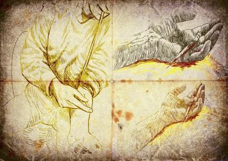 methamphetamine: hand drawings, injection