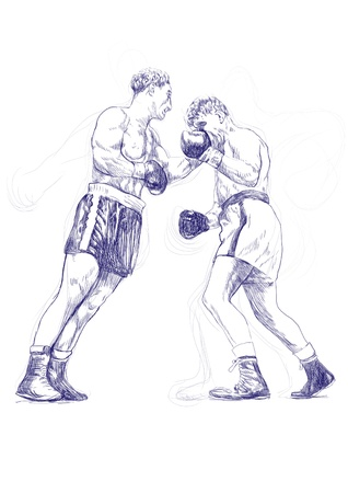 pugilism: hand-drawn picture on the topic of sports  boxing match Stock Photo