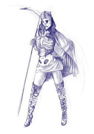 dismay: hand-drawn picture to the Halloween theme  lady death
