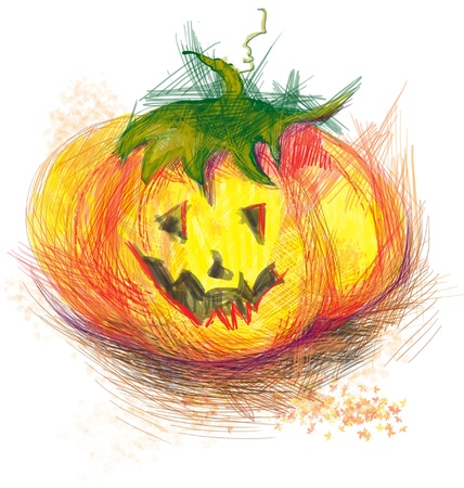 hand-drawn picture to the Halloween theme  pumpkin