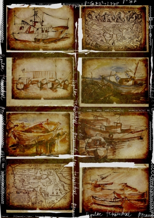 boats and ships, eight pictures, drawing - vintage processing Stock Photo - 14778663