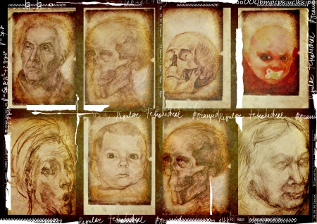 archaically: human heads, eight drawings, vintage processing