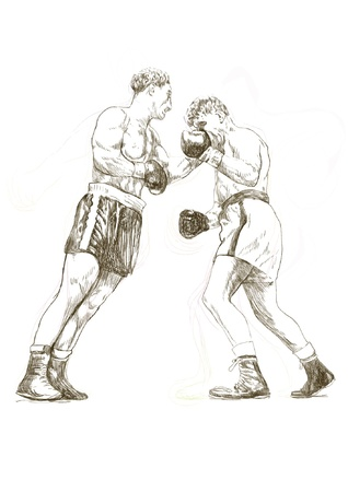 pugilism: hand-drawn picture converted into vector, boxing match Illustration