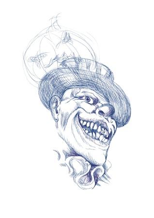 dessinée à la main image convertie dans le vecteur, clown Halloween thème d'horreur effrayant