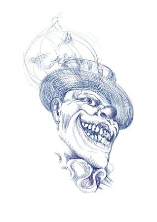 terror: hand-drawn picture converted into vector, Halloween theme  scary horror clown Illustration