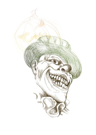 dismay: hand-drawn picture converted into vector, Halloween theme  scary horror clown Illustration