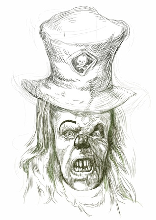 hand-drawn picture converted into vector, Halloween theme  scary horror clown Vector