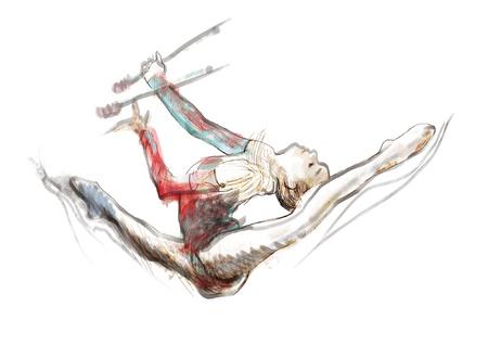 gimnastas: dibujado a mano convertida en imagen del vector, gimnasia