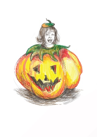 farytale: Hand drawn of child in a haunted Halloween pumpkin costume