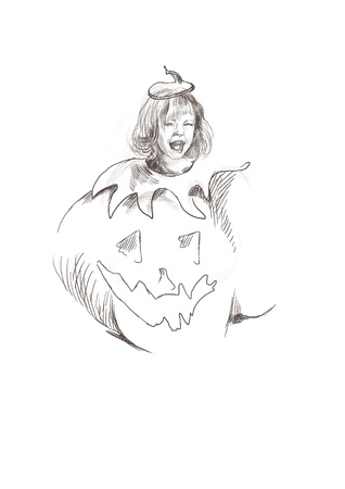 farytale: Hand drawing of child in a haunted Halloween pumpkin costume Illustration