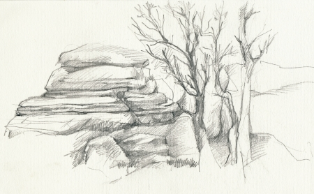 archaically: hand drawing - landscape Stock Photo