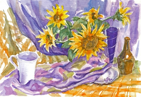 painting - sunflowers, still life photo