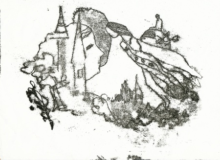 archaically: hand drawing - small town and angels
