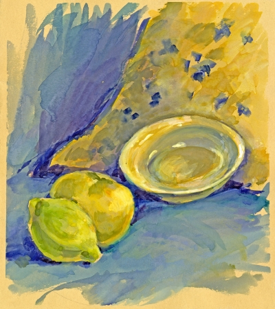archaically: painting - still life  apple and lemon  Stock Photo