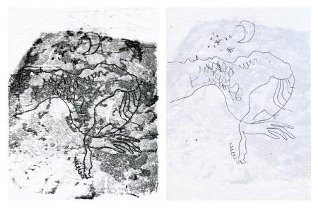 archaically: hand drawing - night on earth  sleeping woman