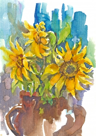 painting - water colors, sunflowers photo