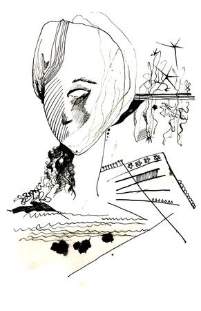 hand drawing - surrealistic head Stock Photo - 14824912