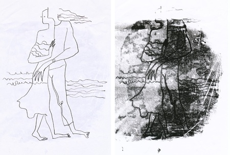 archaically: hand drawing - lovers