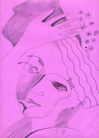 hand drawing - dreamy head Stock Photo