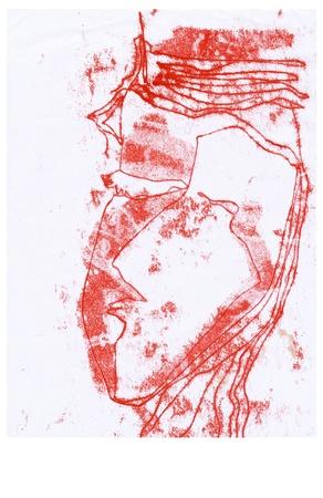 red head, stylization - drawing Stock Photo