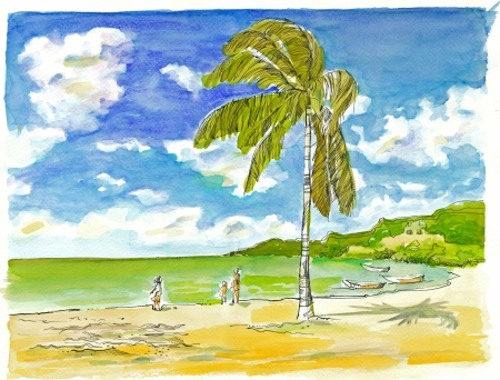 archaically: mixed, black ink outlines and watercolors - holiday Stock Photo