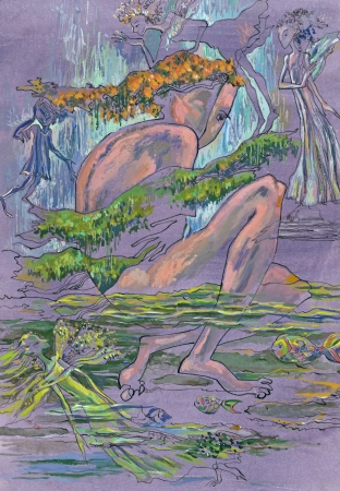 archaically: mixed, drawing and painting - water fairy Stock Photo