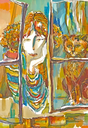 archaically: mixed, hand drawing and painting - woman and cat
