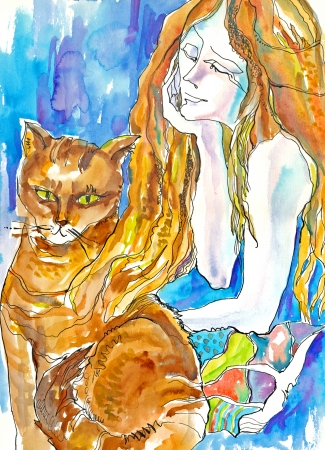 academic touch: mixed, hand drawing and painting - woman and cat