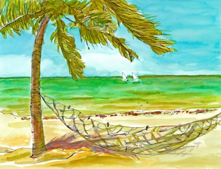 bask: hand drawing picture, holiday on the sea, picture 3
