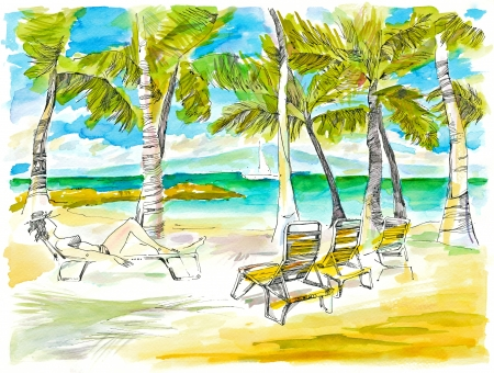 bask: hand drawing picture, holiday on the sea, picture 2 Stock Photo