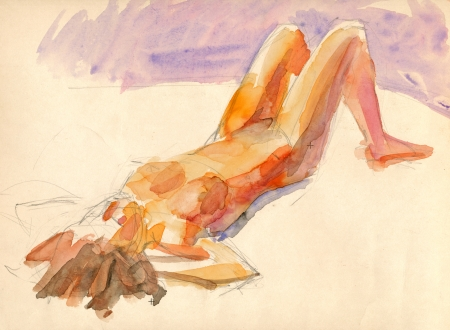 artistic nude: hand painted picture, abstract woman silhouette, water colors