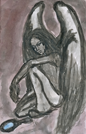 hand painted picture, girl as sad angel photo