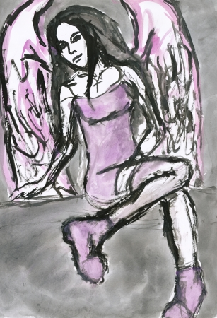 sexy angel: hand painted picture, young girl as sexy angel