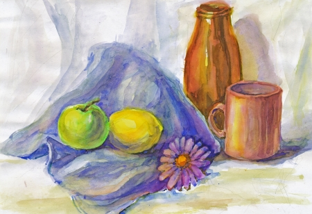 kitchen studio: hand painted water colors picture, simply still life Stock Photo