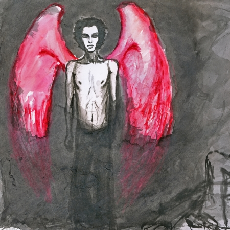 angel alone: red wings angel - hand painted picture